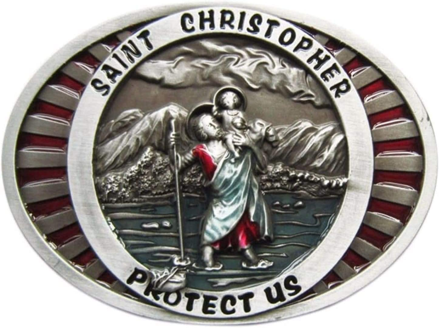 Enamel Saint Christopher Rare Cheap super special price Religion BUCKLE-OC0 Buckle Vintage Belt
