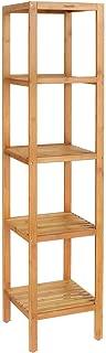 Homfa 5-Tier Bamboo Shelf Free Standing Bathroom Tower Rack Corner Rack Multi-Functional Storage Organizer Unit