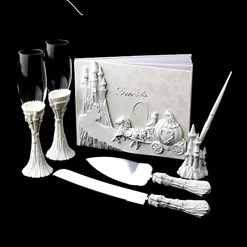Platinum Castle Guest Book Pen Toasting Flutes Cake Sever set Fairy Tale Theme