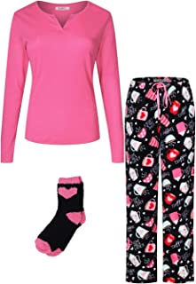 Women's Blend Cotton Top Plush Soft Fleece Pants with Sock Pajama Gift Set