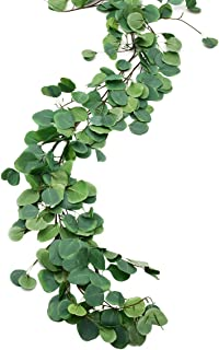 Sunm boutique 2pcs Artificial Hanging Eucalyptus Leaves Vines Eucalyptus Plant Leaves Garland String in Green Indoor Outdoor Wedding Decor Jungle Party Greenery Crowns Wreath