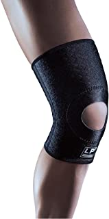 LP SUPPORT Extreme 708CA Knee Support Compression Sleeve - Breathable CoolPrene Athletic Brace Knee (Black - Size L)