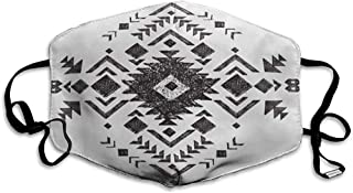 FANCYDAY mondmasker, multipurpose geometrische hand getekend zwart-wit stammes Azteken-etnische Mexicaanse