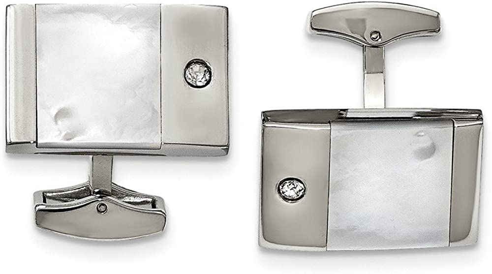 Stainless Steel Polished CZ Cubic Zirconia Cuff Links