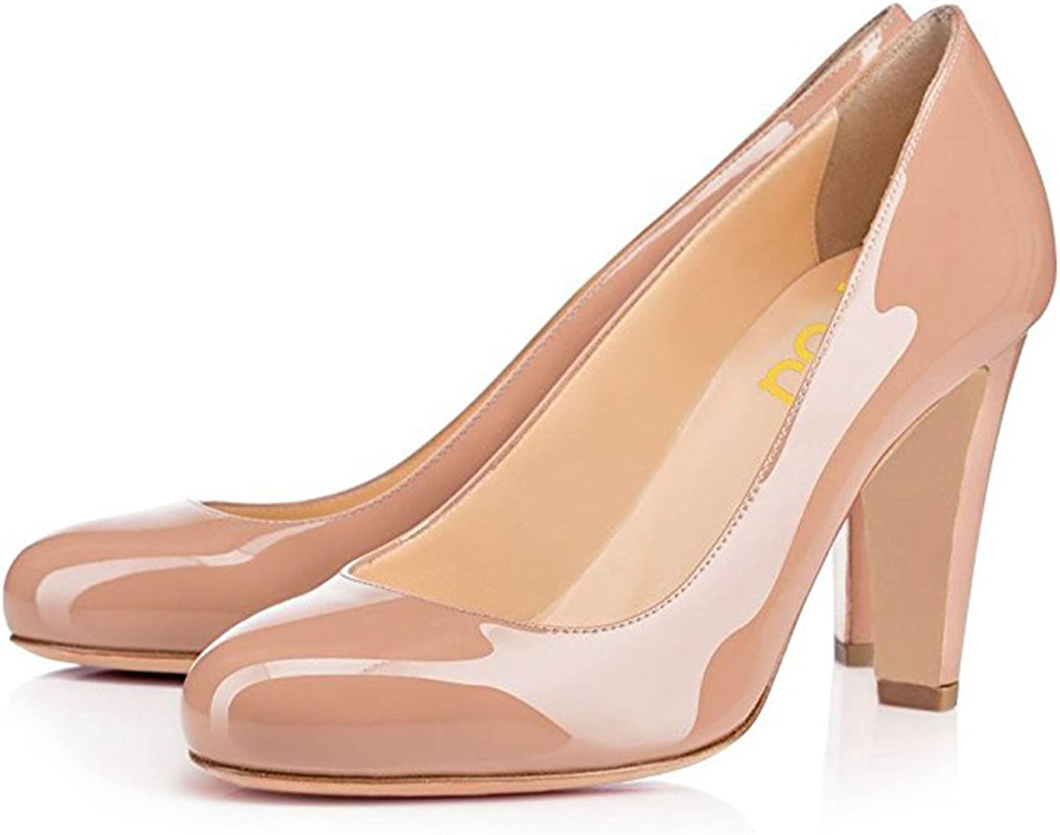 FSJ Fashion Women's Round Toe Pumps Chunky Heels Slip on Party shoes Patent Leather Size 4-15 US