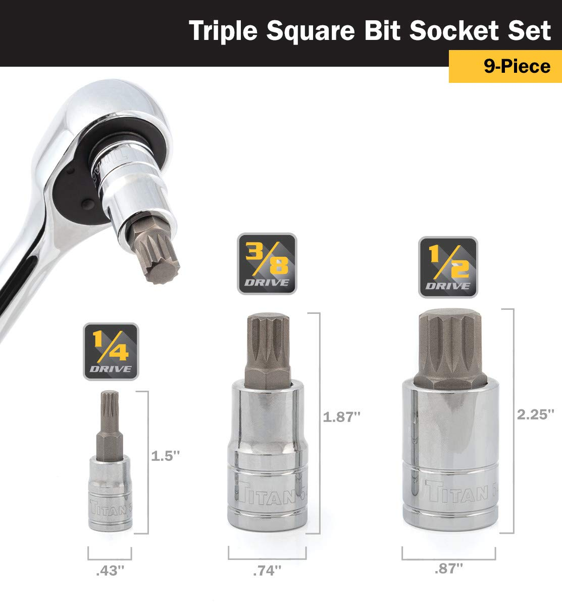 NEW 9 PIECE XZN TRIPLE SQUARE BIT SOCKET SET TITAN 16144