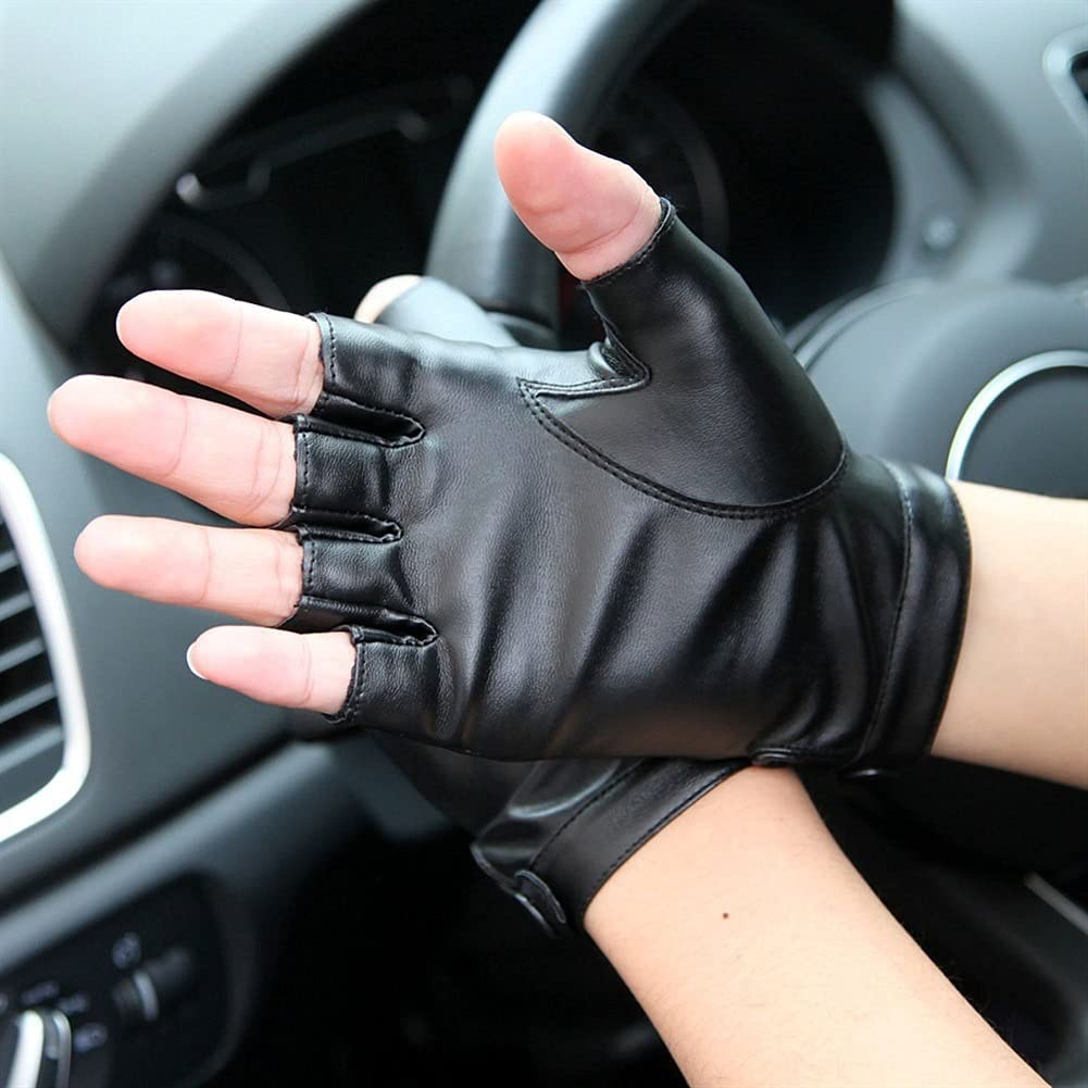 Kioiien Men's Half-Finger Driving Leather Gloves Autumn and Winter Fingerless Knit Wool Warm Gloves Windproof and Waterproof Touch Screen Mitten, for Cycling Motorcycling Driving Gloves