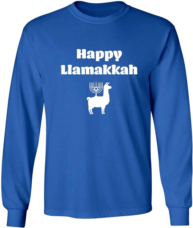 Happy Llamakkah Adult Long Sleeve T-Shirt in Royal - XXXX-Large