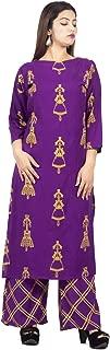 A TEX INDIA Women's Rayon Purple Printed Straight Kurti with palazzo(ATI_1159_Purple)