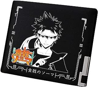 Cosstars Shokugeki no Soma Anime Cartera Hombre Cuero Artificial Billetera Portatarjetas Slim Wallet Negro /2