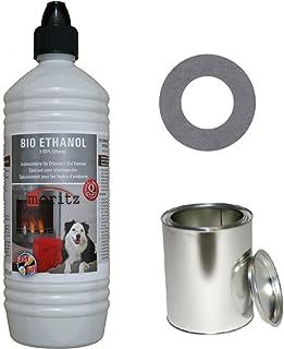 Moritz - Set de iniciación de 1 x 1000 ml de bioetanol + 6 x latas de 250 ml con tapa + hucha para quemador de chimenea, estufa, combustión de seguridad
