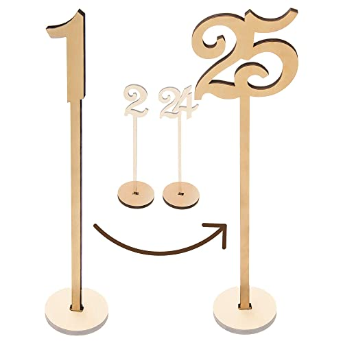 Wooden French Script Table Number Stick Wedding Party Gold Silver Natural Tall