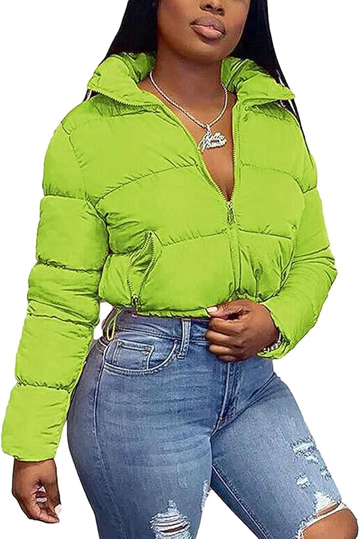 AMEBELLE Women's Crop Puffer Jacket Winter Stand Collar Full Zip Slim Down Coats