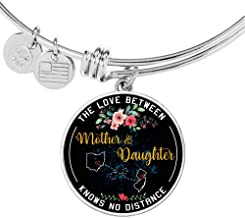 HusbandAndWife to My Daughter Necklace Bracelet The Love Between Mother & Daughter Knows No Distance Ohio OH State and New Jersey NJ State Funny Necklace Name Jewelry