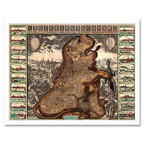 Wee Blauwe Coo Kaart Antiek België Nederland Leeuw Zwaard Art Print Ingelijste Poster Muurdecoratie 12X16 Inch