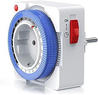 1797/5000 Temporizador mecánico - 24 horas Temporizador Anaolg - Enchufe Temporizador Enchufe del programa de tiempo con 96 segmentos de conmutación Control deslizante del temporizador con protecci