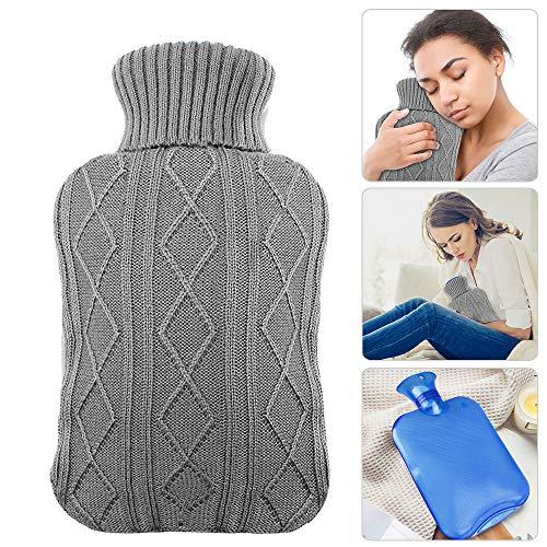 Wärmflasche mit Bezug, AODOOR wärmeflaschen mit Strickbezug Rollkragen Wärmekissen, Sicher und langlebig Geprüft Und Frei Von Schadstoffen, das perfekte Geschenk- 2 Liter (Grau)