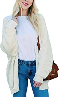 BB&KK Womens Casual Open Front Boho Knit Sweater Cardigan Long Sleeve White X-Large