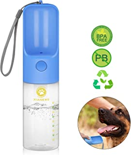 XIANEWS Portable Pet Dog Water Bottle for Walking Pet Drink Cup w/Bowl Dispenser for Travel Outdoor Hiking 15 Oz (Pink)