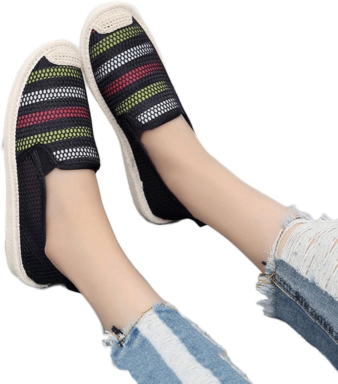 Lace mesh shoes ladies breathable canvas shoes outdoor leisure white board shoes fashion flat shoes ( color   Black , Size   36 )