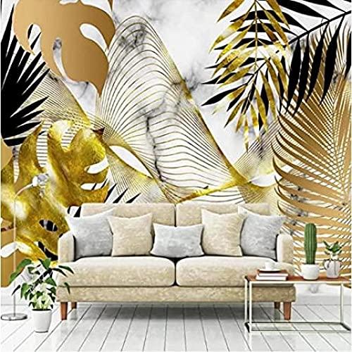 MHSHM Murales Papel Tapiz 3D Mural Planta Tropical Nórdica 3D Curva Abstracta De Hoja De Oro Para Casa Cocina Sala De Estar Dormitorio Tv Fondo Pared Decoración-(W)350cmx(H)245cm