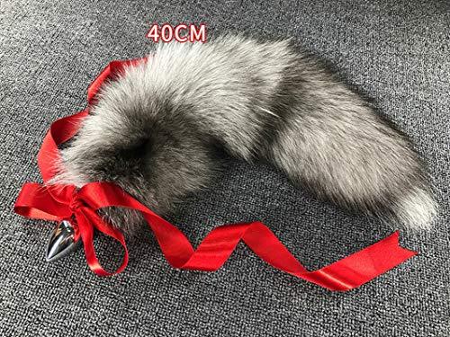 Aạult Tọy Men sẹx 40-100cm Tails Anạl Plụg Tọys Grey Big Real Silver sẹxy Anime Wolf Cosplay Metal Bụtt Couple Erotic Shipping-40cm Tail 4.1cmPlụg