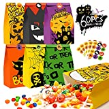 Kidtion 60 PCS Halloween Goody Bags with 60 Pcs Stickers, 6 Styles Treat Bags Bulk, 9.5