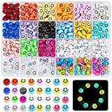480 Stück Smiley Perlen, Caffox Bunte Smiley Perlen Acryl Leuchtperlen DIY Bastelperlen zum Auffädeln Schmuck Basteln Zubehör für Armbänder, Ohrringe, Halsketten, Geschenke
