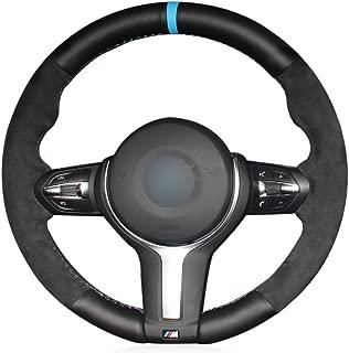 MEWANT Black Genuine Leather Black Suede Car Steering Wheel Cover for BMW F87 M2 F80 M3 F82 M4 M5 F12 F13 M6 2013-2017 F85 X5 M F86 X6 M F33 2013-2017 F30 M Sport 2013-2017