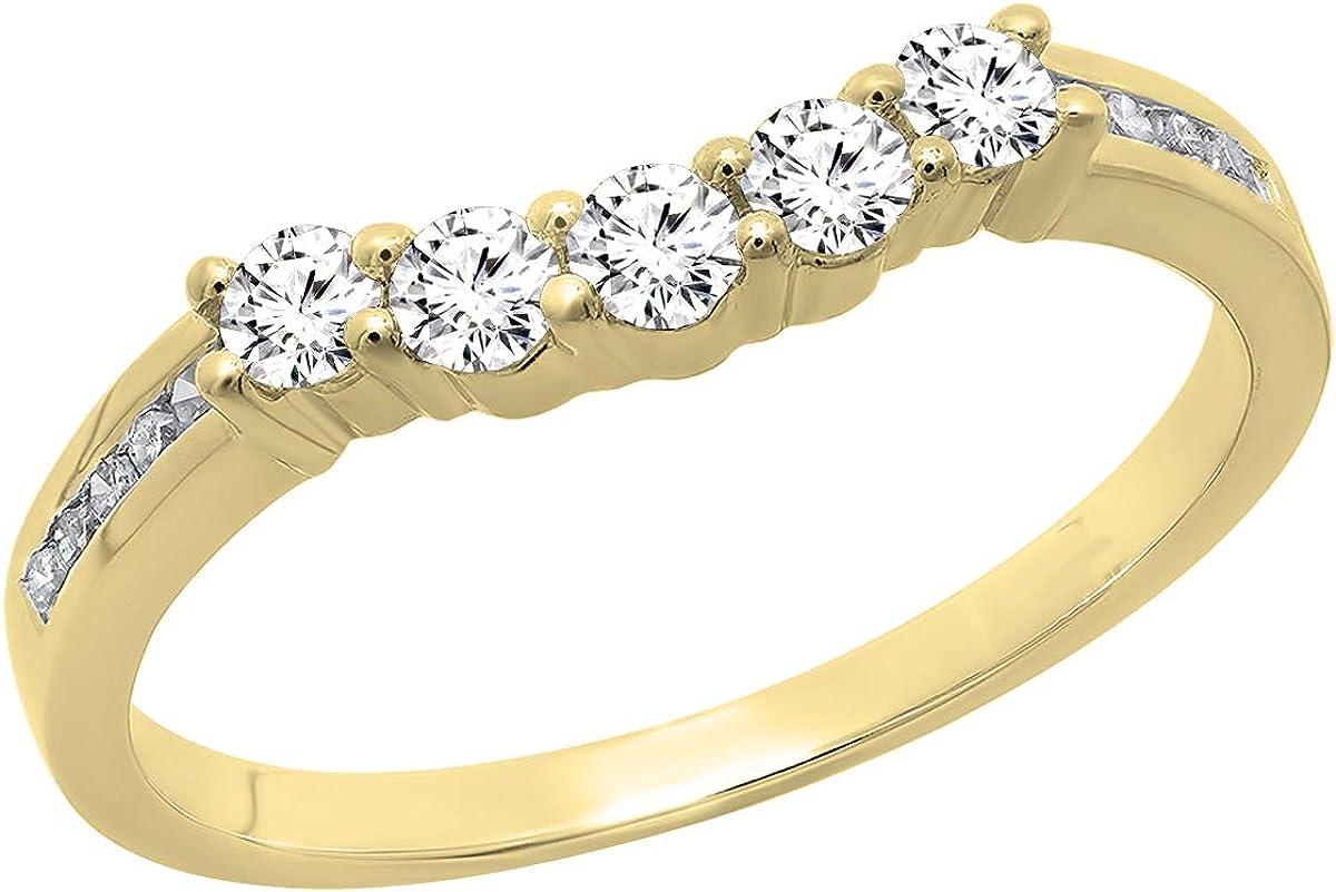 Dazzlingrock Collection Round Gemstone & White Diamond Ladies 5 Stone Guard Wedding Band, 14K Yellow Gold