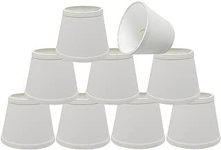 Aspen Creative 32862-9 Small Hardback Empire Shape Chandelier Clip-On Lamp Shade Set (9 Pack), Transitional Design in White, 5