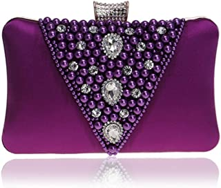 Ladies New Beaded Evening Dress Clutch Pearl Crystal Rhinestone Evening Clutch Bag Bridal Banquet Phone Bag Beige/Black/Purple/Red/Silver. jszzz (Color : Purple)