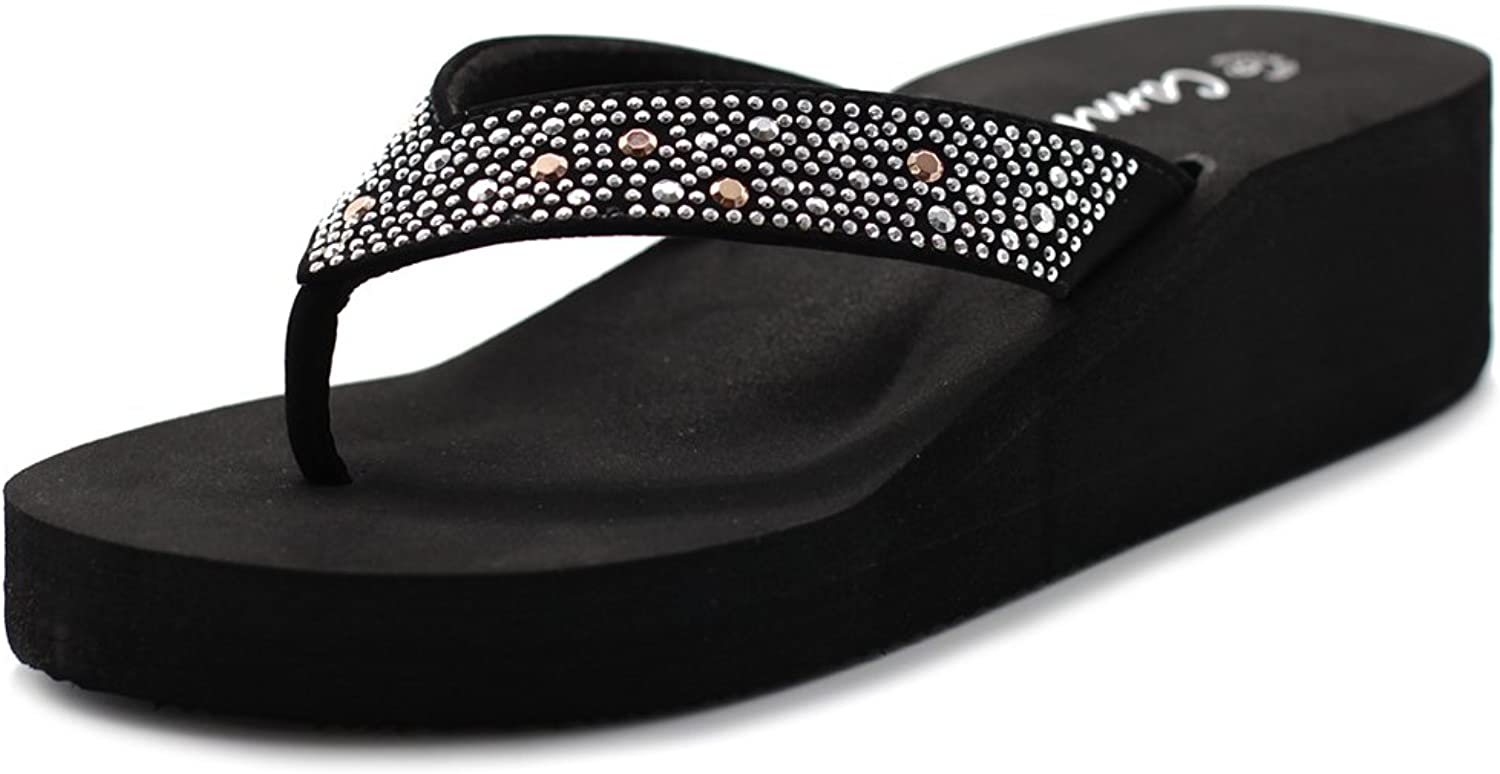 Cammie Women's Wedge Thong Sandals with Octagon Stud Straps