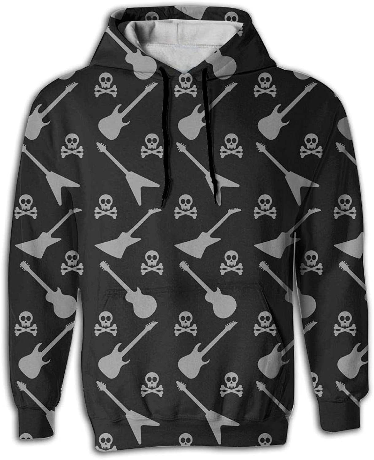 Earl Big Pockets Design Pop Skull with Rock Guitar Sports Hoodies