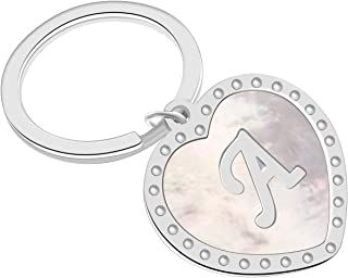 Giftale Womens Letter Keychain with Ball Chain Necklace Mother of Pearl Shell Heart Love Pendant Alphabet Initial A Letter Key Ring for Girls