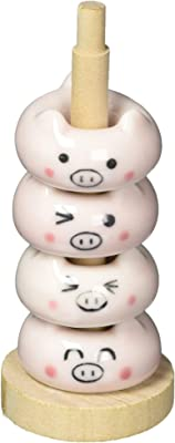 田中箸店 ドーナツ箸置 こぶたセット(木製収納ポール付属)