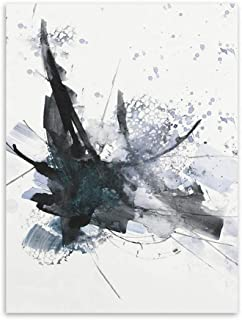 Modern Abstract Chinese Ink Splash Canvas A4 Art Poster Print Wall Picture Painting No Frame Vintage Retro Living Room Decor,13x18cm no Frame,Light Yellow