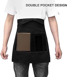 WINOMO - Delantal unisex corto con bolsillo para camareros o cocineros (negro)