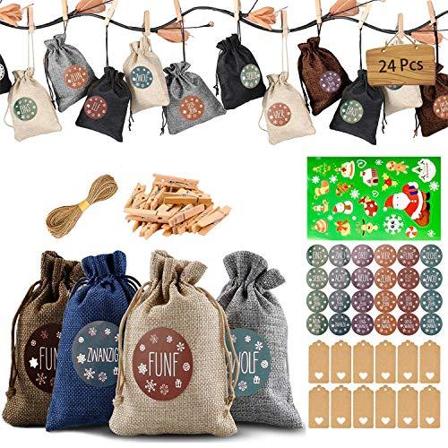 Adventskalender zum Befüllen Stoff,Adventskalender Tüten zum Befüllen kinder,24 Weihnachtskalender stoffsäckchen zum Befüllen Selber Basteln,Adventskalender Säckchen zum Befüllen mit 24 Adventszahlen