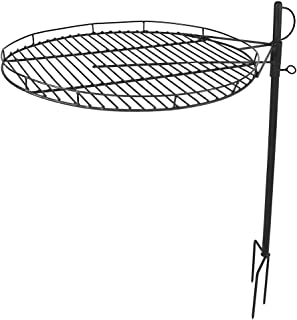 Sunnydaze Height-Adjustable Fire Pit Cooking Grate Grill - Outdoor Backyard Heavy-Duty Steel Campfire Barbecue Rack - 360-Degree Rotation - 24-Inch Surface