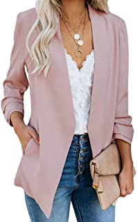 Womens Casual Blazer Ruched 3/4 Sleeve Open Front Relax...
