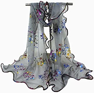 Egmy💐 Clearance Sale ❤️ Newest Women Colorful Flower Printing Lace Scarf Long Soft Wrap Shawl Stole Pashmina (Gray)
