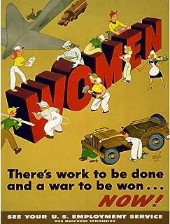 Wee Blue Coo Propaganda War WWII Women Work Industry Military Land Girl USA Unframed Wall Art Print Poster Home Decor Premium