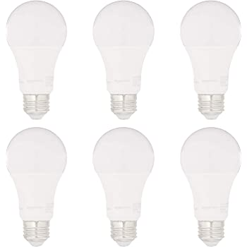 AmazonBasics 75W Equivalent, Soft White, Dimmable, 15,000 Hour Lifetime, CEC Compliant, A19 LED Light Bulbs | 6-Pack