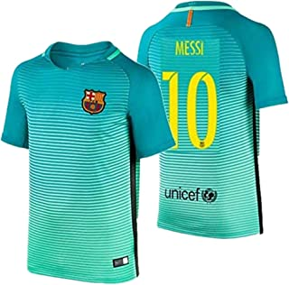 2016 Messi #10 Barcelona Away Jersey & Shorts for Kids and Youths Color Green
