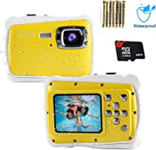 Waterproof Digital Camera for Kids 12MP HD Photo Resolution Underwater Camcorder with 8X Digital Zoom Flash Mic and 8G SD Card 3 Non-Rechargeable Batteries Included