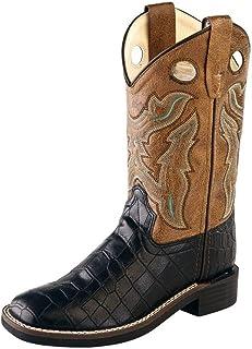 Old West Children Broad Square Toe Black Croco/Light Brown Crackle Cowboy Boot