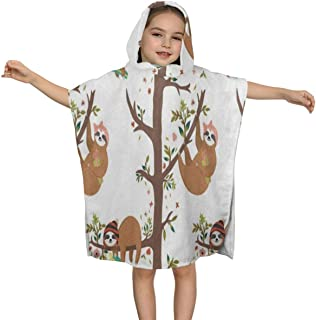 ZHOUSUN Extra Large Super Soft and Absorbent Hooded Poncho Bath Towel,Floral Print Sloth Flower Tree Beach Towel for Girls