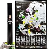 Mapa de viaje con mapa de Europa para rascar, mapa de la UE detallado mapa de mapa de Europa mapa de pared con puntos de referencia, Bucketlist Scratch Off - Europe mapa de viaje 61x40cm Black