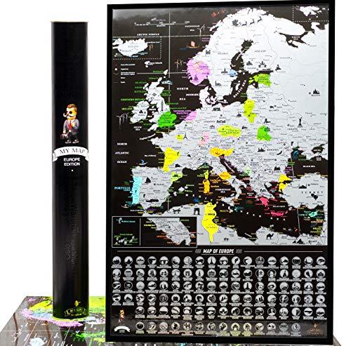 MyMap Schwarze Rubbel Europakarte – Weltkarte zum Frei Rubbeln - 68 x 47